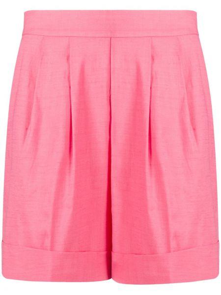 Однобортные розовые шорты с воротником со складками Hebe Studio
