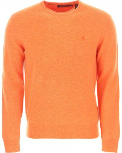 Pomarańczowy sweter bawełniany z długimi rękawami Ralph Lauren