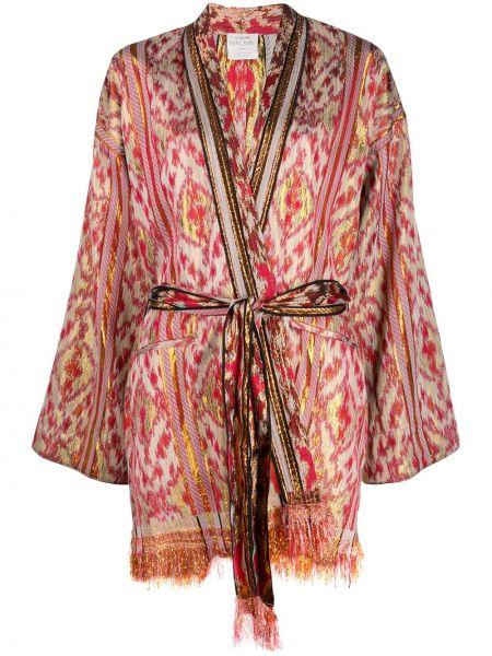 Хлопковая розовая куртка с бахромой Forte Forte