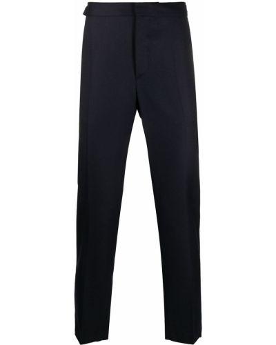 Шерстяные прямые синие прямые брюки Harmony Paris