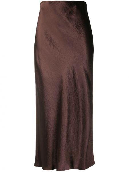 Коричневая плиссированная юбка миди Vince.