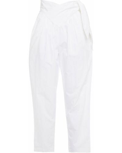 Хлопковые белые укороченные брюки с карманами Antik Batik