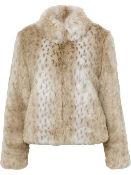 Beżowa kurtka z printem Unreal Fur