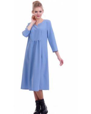 С рукавами платье миди с карманами с вырезом круглое Lautus