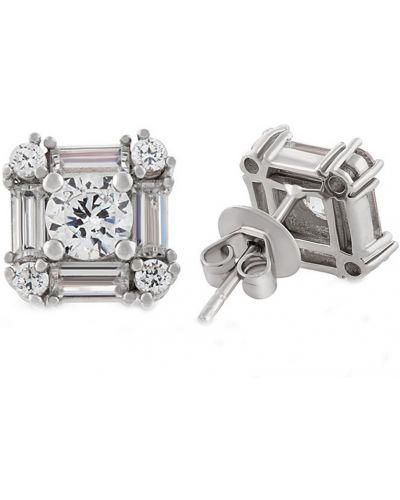 Серебряные серьги с бриллиантом серебряный Montebello