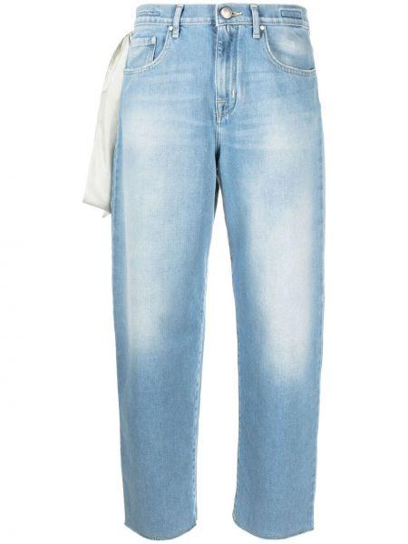 Прямые синие укороченные джинсы с вышивкой Jacob Cohen