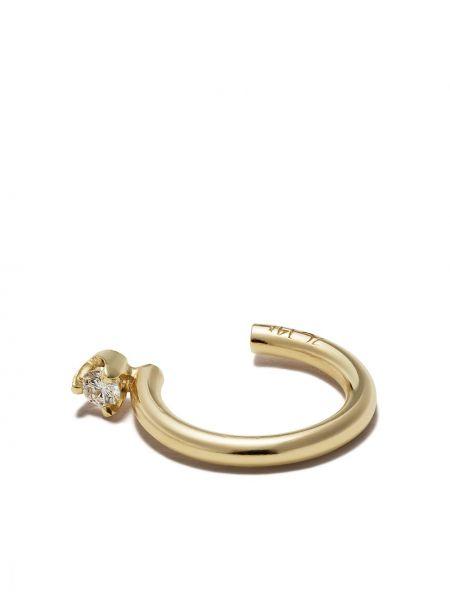 Желтые золотые серьги круглые с бриллиантом Zoë Chicco