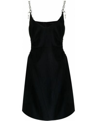 Czarna sukienka mini srebrna Rokh