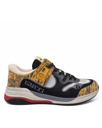 Czarne sneakersy skorzane Gucci