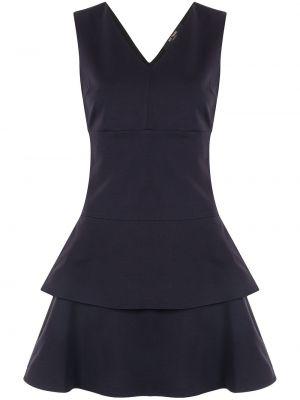 Трикотажное синее платье миди с вырезом Twin-set