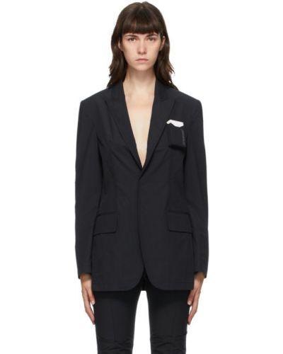 Черная длинная куртка с воротником с отворотом с карманами Hyein Seo
