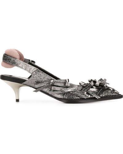 Туфли на каблуке серые с бантом N21