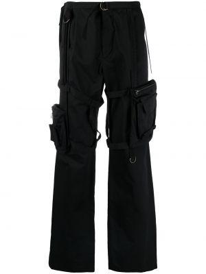 Czarne spodnie z wysokim stanem bawełniane Raf Simons