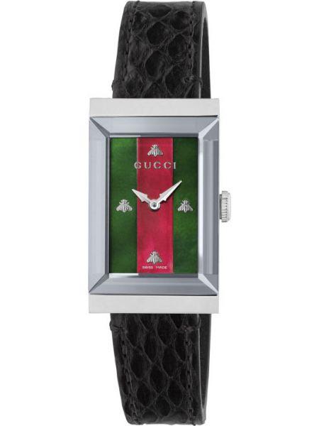 С ремешком кожаные красные часы на кожаном ремешке Gucci