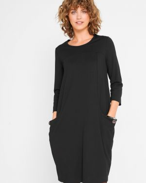 С рукавами черное платье с карманами Bonprix