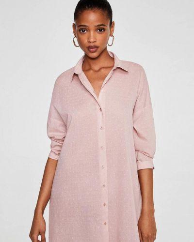 Розовое платье рубашка Mango