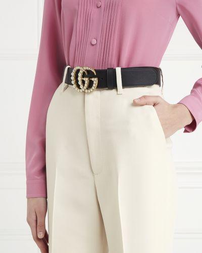 Ремень черный из плотной ткани Gucci