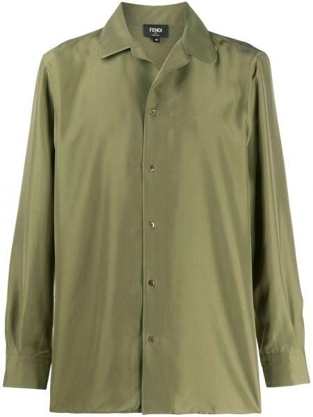 Koszula z długim rękawem jedwab prosto Fendi