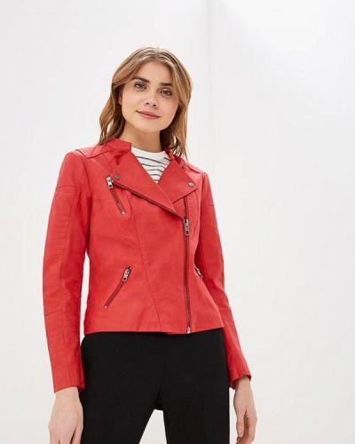 Кожаная куртка весенняя красный Only