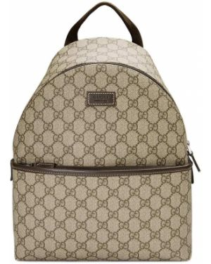 Skórzany plecak beżowy z płótna Gucci Kids