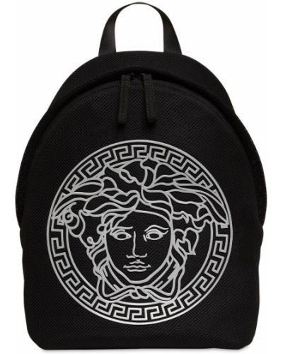 Czarny plecak z siateczką bawełniany Versace