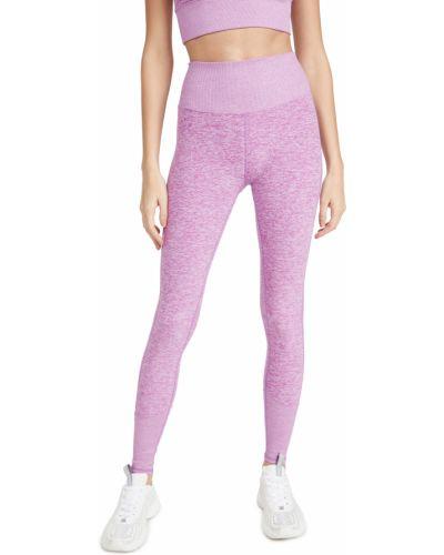 Prążkowane fioletowe legginsy z wysokim stanem Alo Yoga