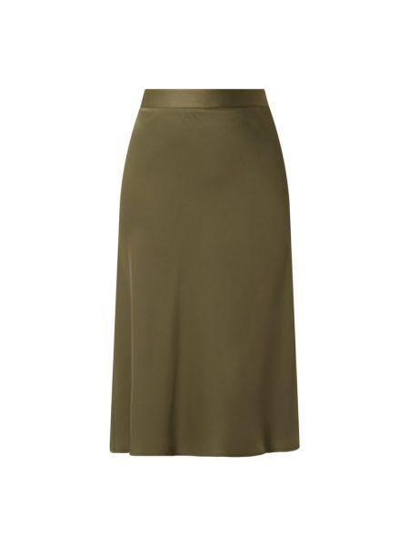 Satynowa zielona spódnica midi rozkloszowana Comma