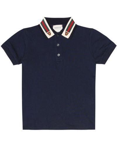 Niebieska koszula bawełniana w paski Gucci Kids