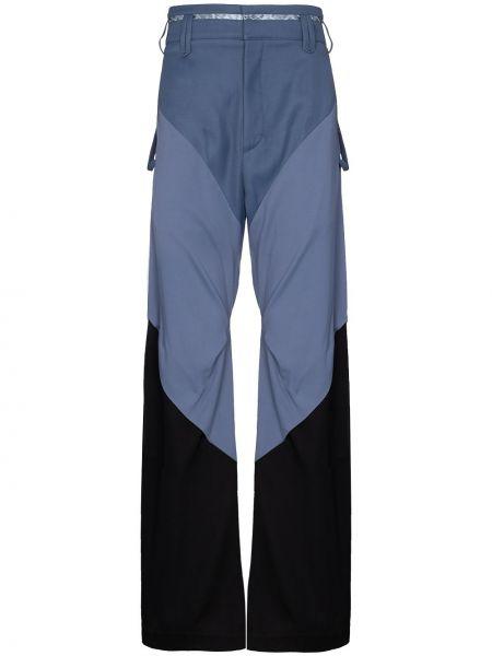 Niebieskie spodnie z wysokim stanem bawełniane Kiko Kostadinov