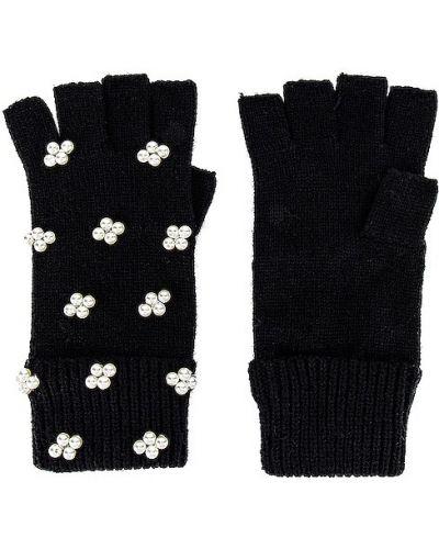 Prążkowane czarne rękawiczki bez palców z akrylu Lele Sadoughi