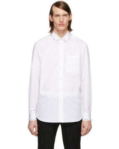Biały bawełna bawełna z rękawami koszula oxford Burberry