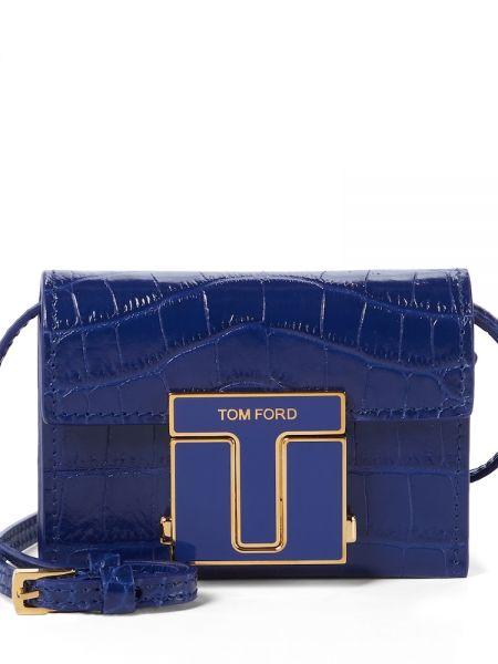 Синий клатч из натуральной кожи с тиснением Tom Ford