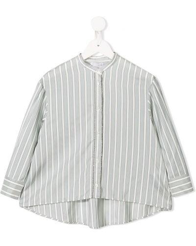 Рубашка с узором серый Brunello Cucinelli
