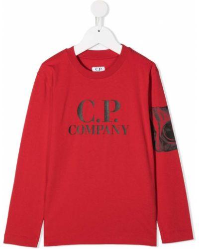 Прямой красный топ с круглым вырезом круглый Cp Company Kids