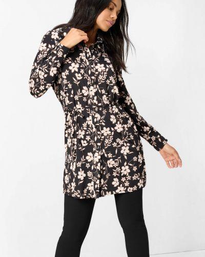 Bluzka w kwiaty - czarna Orsay