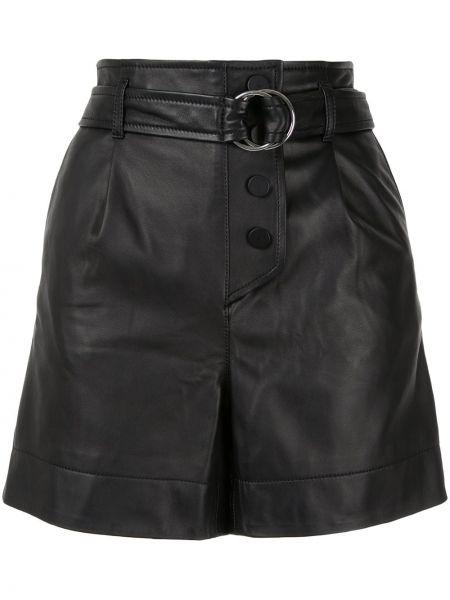 С завышенной талией кожаные черные шорты Yves Salomon