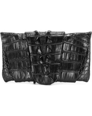 Черная кожаная сумка из крокодила винтажная Balmain Pre-owned