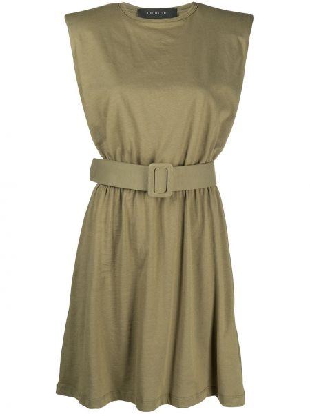 Прямое зеленое платье мини с поясом Federica Tosi
