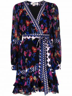 Niebieska sukienka z dekoltem w serek Dvf Diane Von Furstenberg
