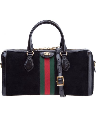 Кожаный сумка с логотипом замшевая Gucci