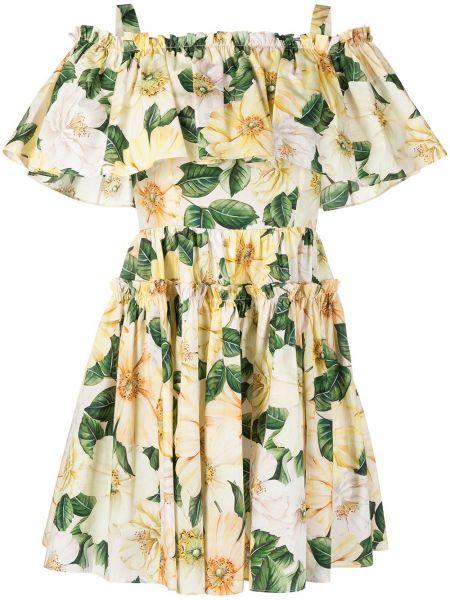 Хлопковое желтое платье квадратное Dolce & Gabbana