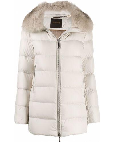 Бежевое пуховое длинное пальто с капюшоном Moorer