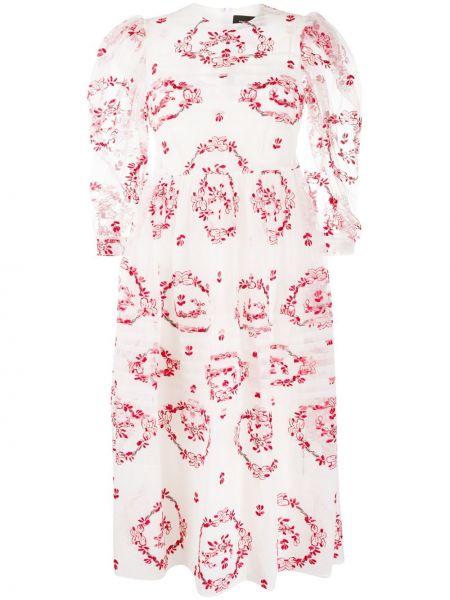 Платье миди с вышивкой на молнии Simone Rocha