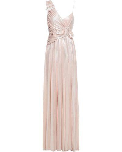 Różowa sukienka wieczorowa prążkowana na obcasie Retrofete
