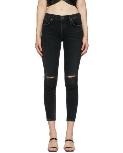 Bawełna czarny jeansy do kostek z kieszeniami chudy Agolde