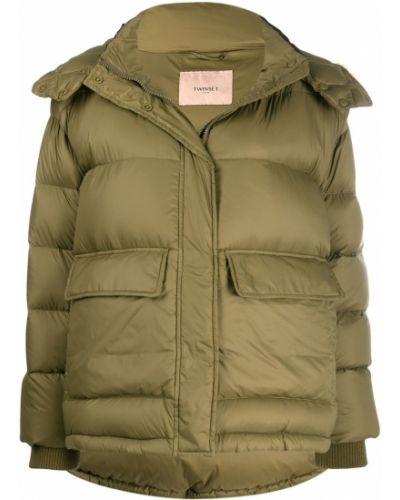 Длинная куртка стеганая зеленая Twin-set