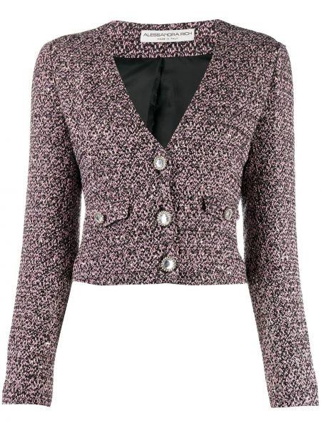 Шерстяная ватная черная длинная куртка Alessandra Rich