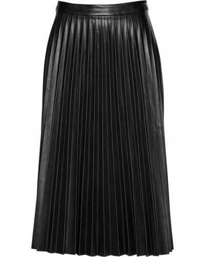 Черная плиссированная юбка из искусственной кожи Bonprix