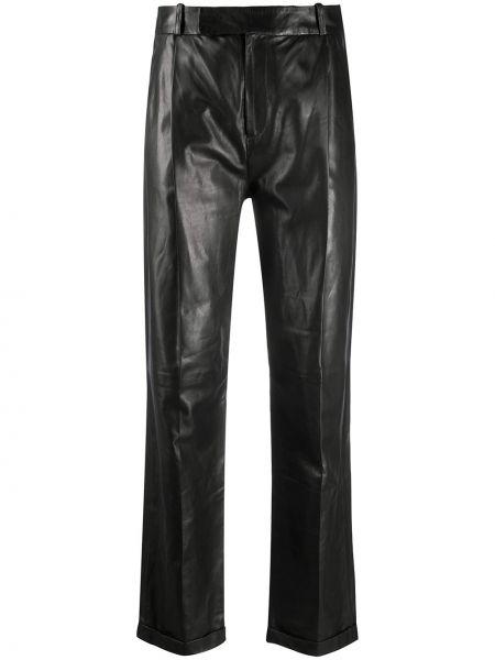 Черные прямые брюки с карманами с высокой посадкой Arma