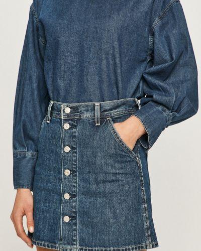 Niebieska spódnica mini zapinane na guziki bawełniana Levi's